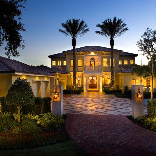 gorgeous exterior elevation shot of new custom residential home built by Cahill Homes, a Central Florida home builder