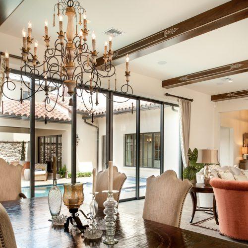 custom interior dining room designed by Cahill Homes, a Central Florida custom home builder
