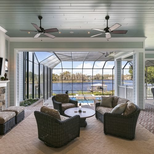 custom built outdoor entertainment area by Element Home Builders, a central florida residential home builder